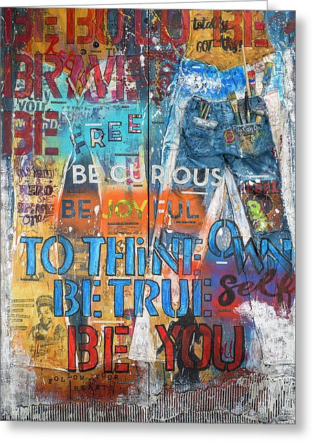 Rebel Girl Jeans Diptych Mixed Media Artwork - Greeting Card