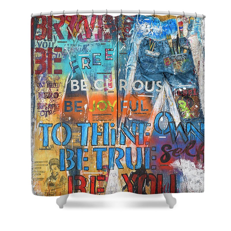 Rebel Girl Jeans Diptych Mixed Media Artwork - Shower Curtain