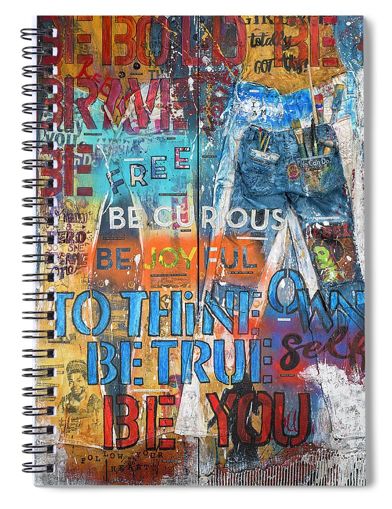 Rebel Girl Jeans Diptych Mixed Media Artwork - Spiral Notebook