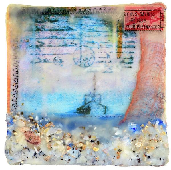 "Sea Echoes Collector Series: v1.2 ""Let The Sea Set You Free"" - 6""x6"" Original Encaustic Mixed Media"