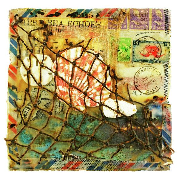 "Sea Echoes  v1.1 ""I Left My Heart In San Francisco"" - 6""x6"" Original Encaustic Mixed Media"