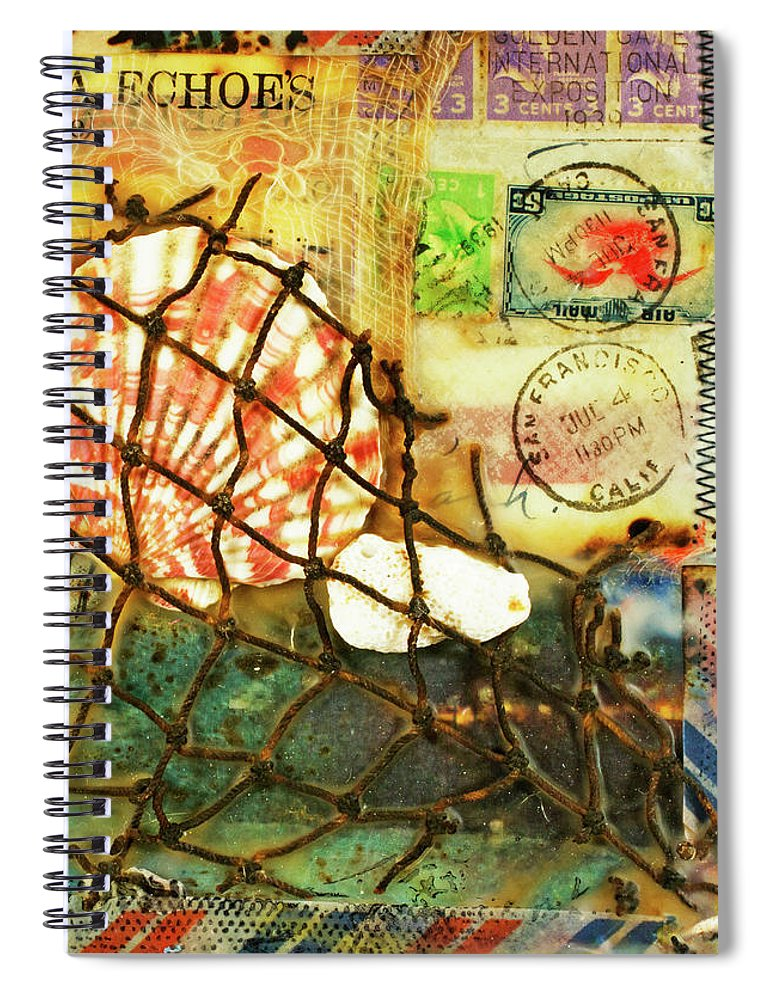 Sea Echoes Series V1 I Left My Heart In San Francisco Encaustic Mixed Media - Spiral Notebook