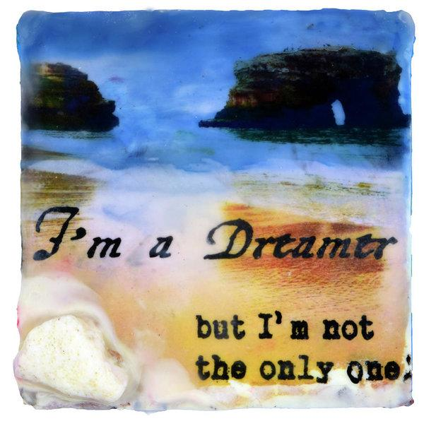 "Sea Echoes: v1.3 ""I'm A Dreamer, But I'm Not The Only One"" - 6""x6"" Original Encaustic Mixed Media"
