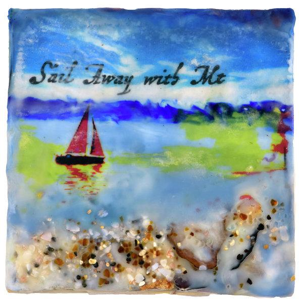 "Sea Echoes: v1.4 ""Sail Away With Me"" - 6""x6"" Encaustic Mixed Media"