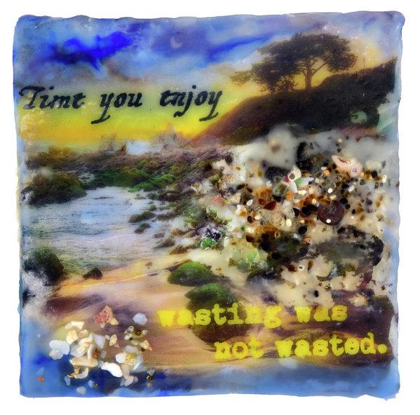"Sea Echoes: v1.5 ""Time You Enjoy Wasting.."" - 6""x6"" Original Encaustic Mixed Media"