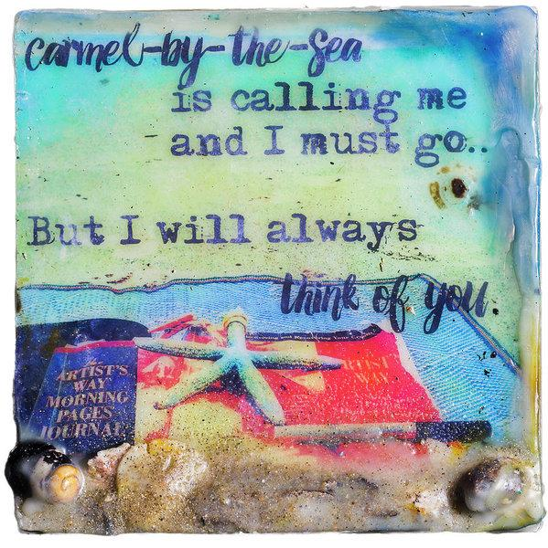 "Sea Echoes: v1.7 ""Carmel-by-the-Sea Is Calling.."" - Original Encaustic Mixed Media"