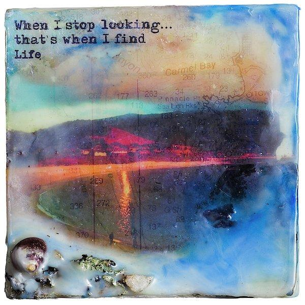 "Sea Echoes: v1.8 ""When I Stop Looking..."" - Original Encaustic Mixed Media"