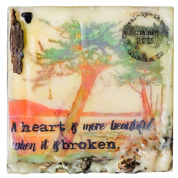"Sea Echoes: v1.9 ""A Heart Is More Beautiful When It Is Broken"" - Original Encaustic Mixed Media"