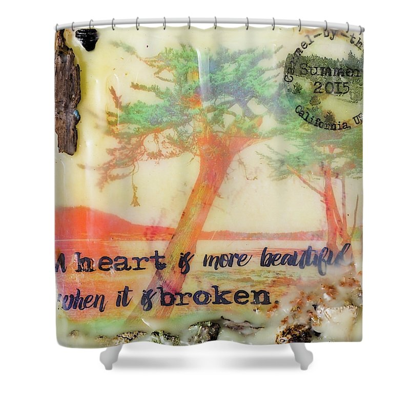 Sea Echoes Series V9 Heart Is More Beautiful When It Is Broken Encaustic Mixed Media - Shower Curtain