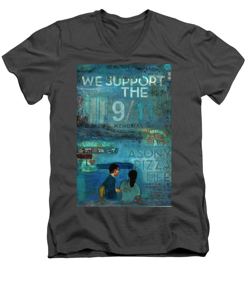 Tribute To Nyc Sept 11 Twin Towers - Men's V-Neck T-Shirt