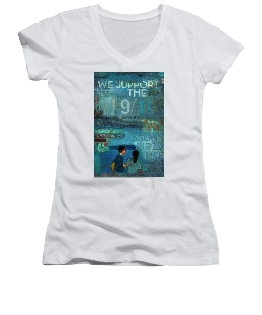 Tribute To Nyc Sept 11 Twin Towers - Women's V-Neck