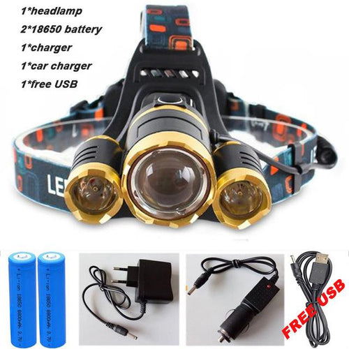 Super Powerful 3 X Led Head Light Gear