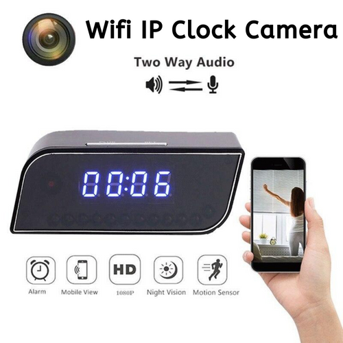 Mini Wireless Wifi Camera Alarm Clock with Night Vision and Motion Detection
