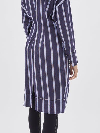 stripe long sleeve waisted dress
