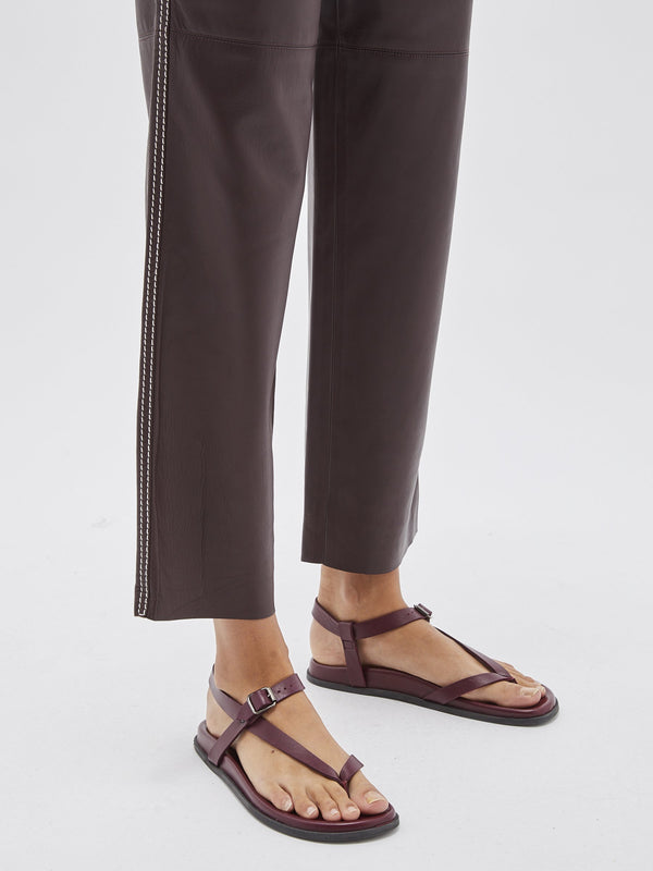 leather stitch detail pant