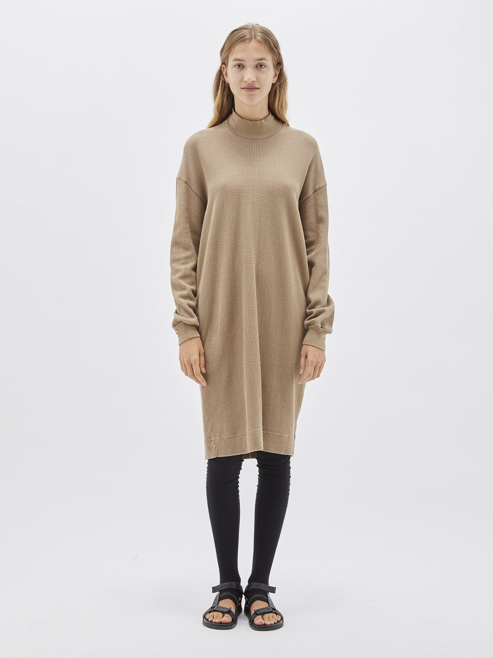 waffle rib funnel neck dress