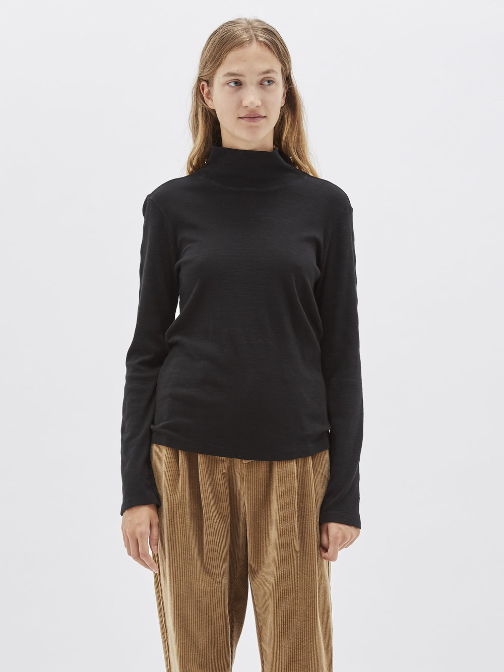 funnel neck slub long sleeve t.shirt