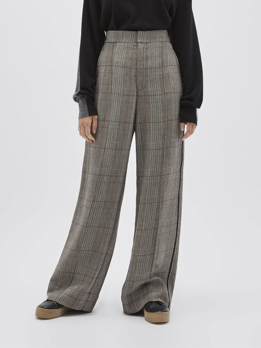 check viscose tailored pant