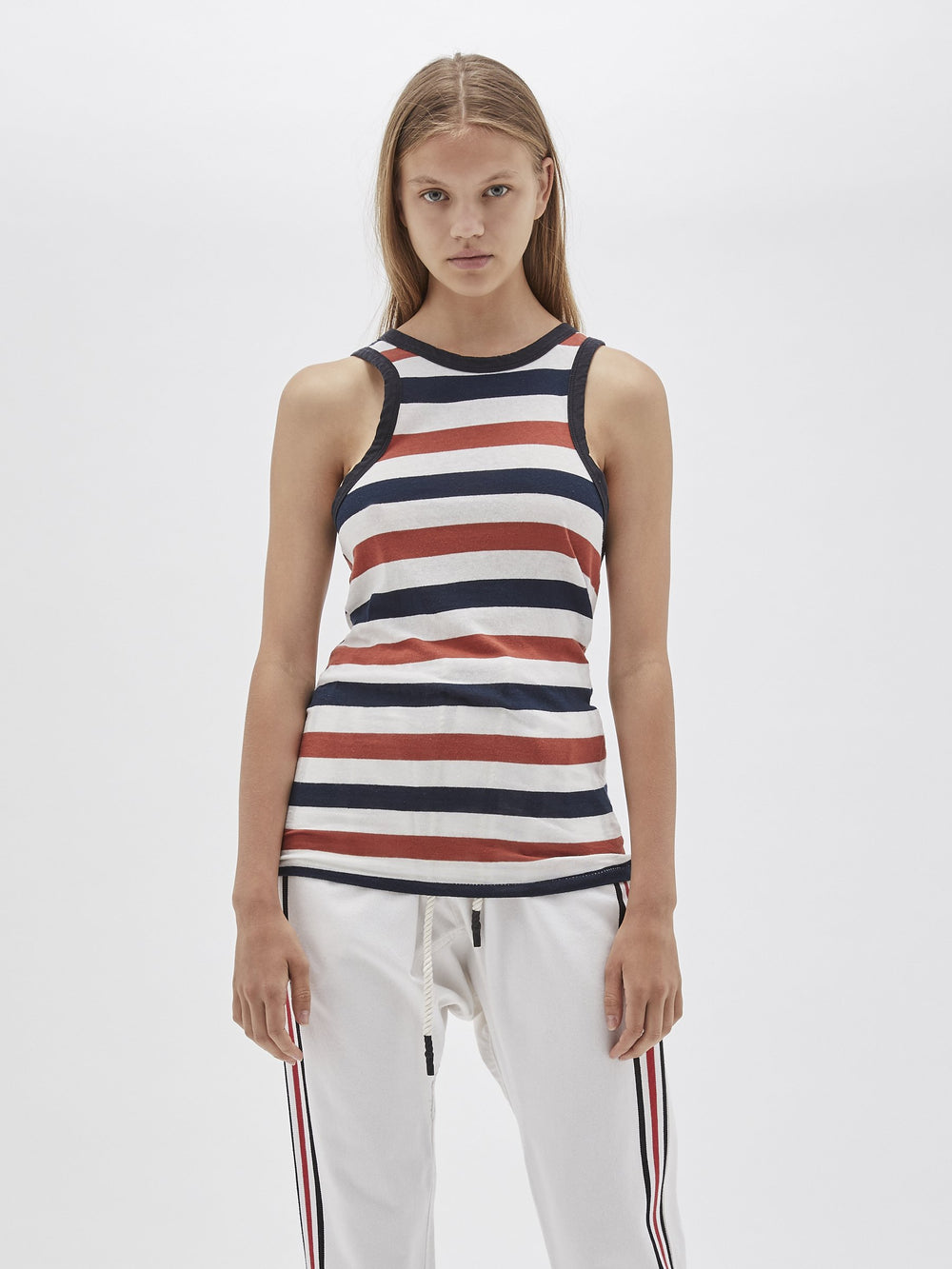 stripe fitted athletic tank