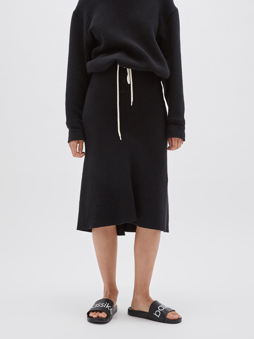reverse fleece tubular skirt