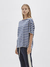 stripe boxy sailor short sleeve t.shirt