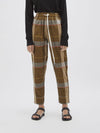 check cotton pull on pant