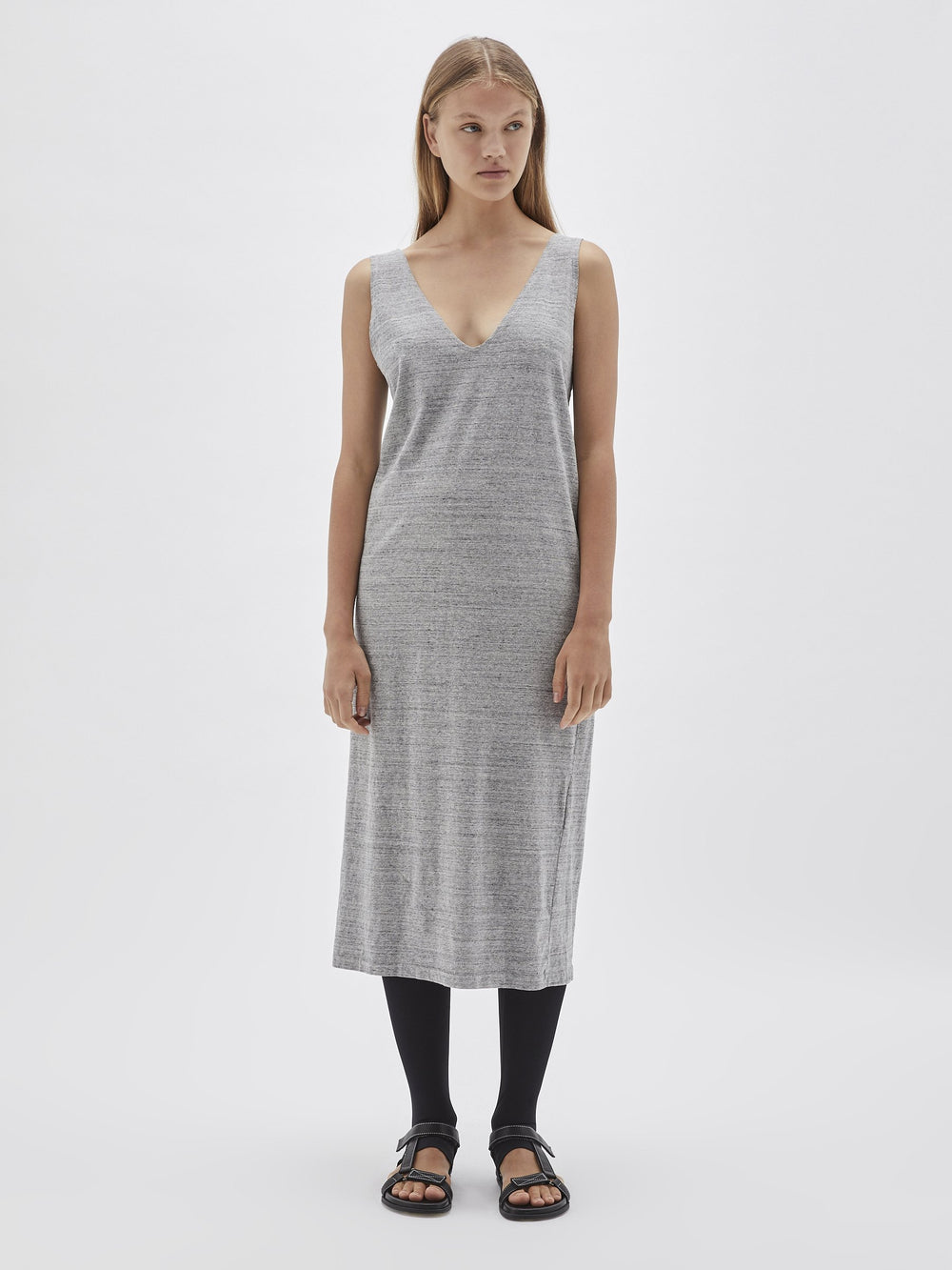 slub jersey v neck dress