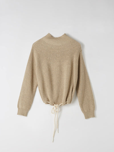 drawstring hem cotton knit