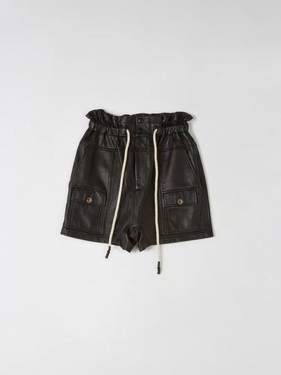 leather waisted utility short