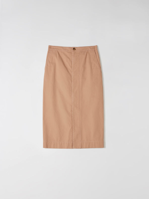 cotton canvas zip front skirt