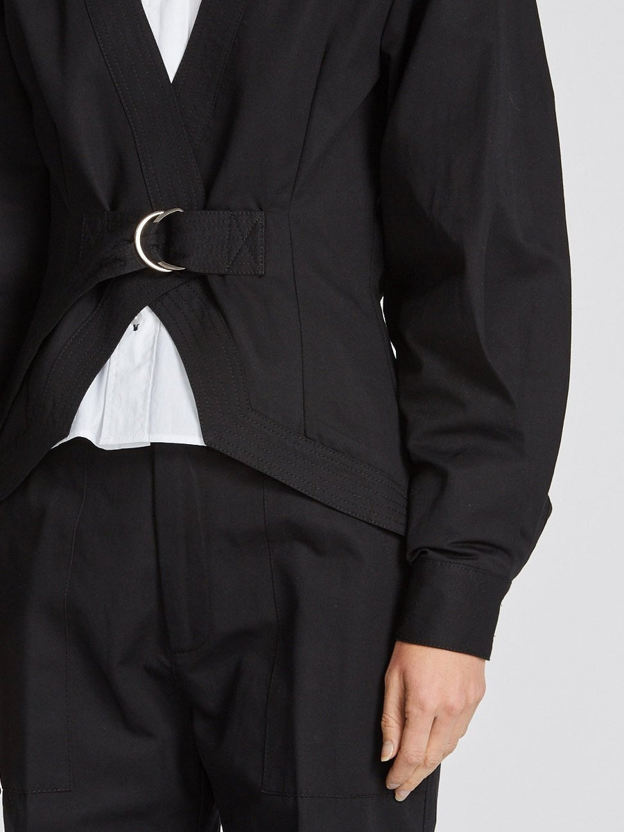 cotton linen belted jacket