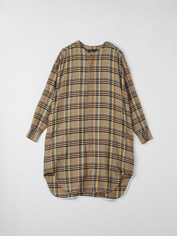 check button placket shirt dress