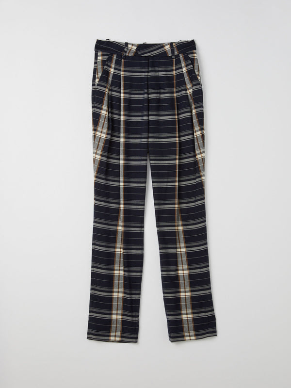 check pleat tailored pant