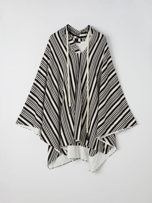 stripe loopback fleece hooded kaftan