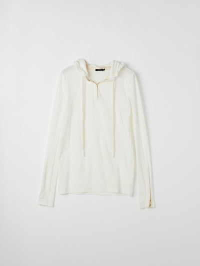 gauze snap detail hooded top