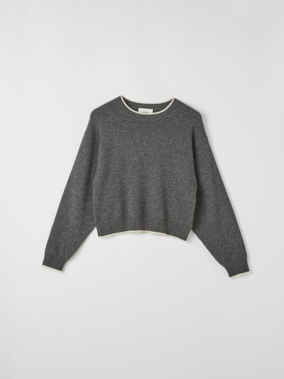 contrast detail crew knit