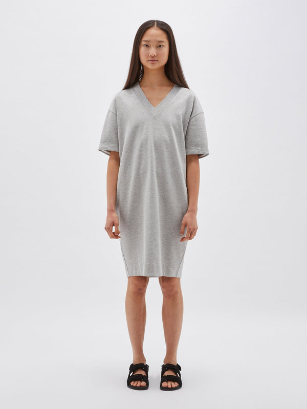 fleece v neck sweater dress