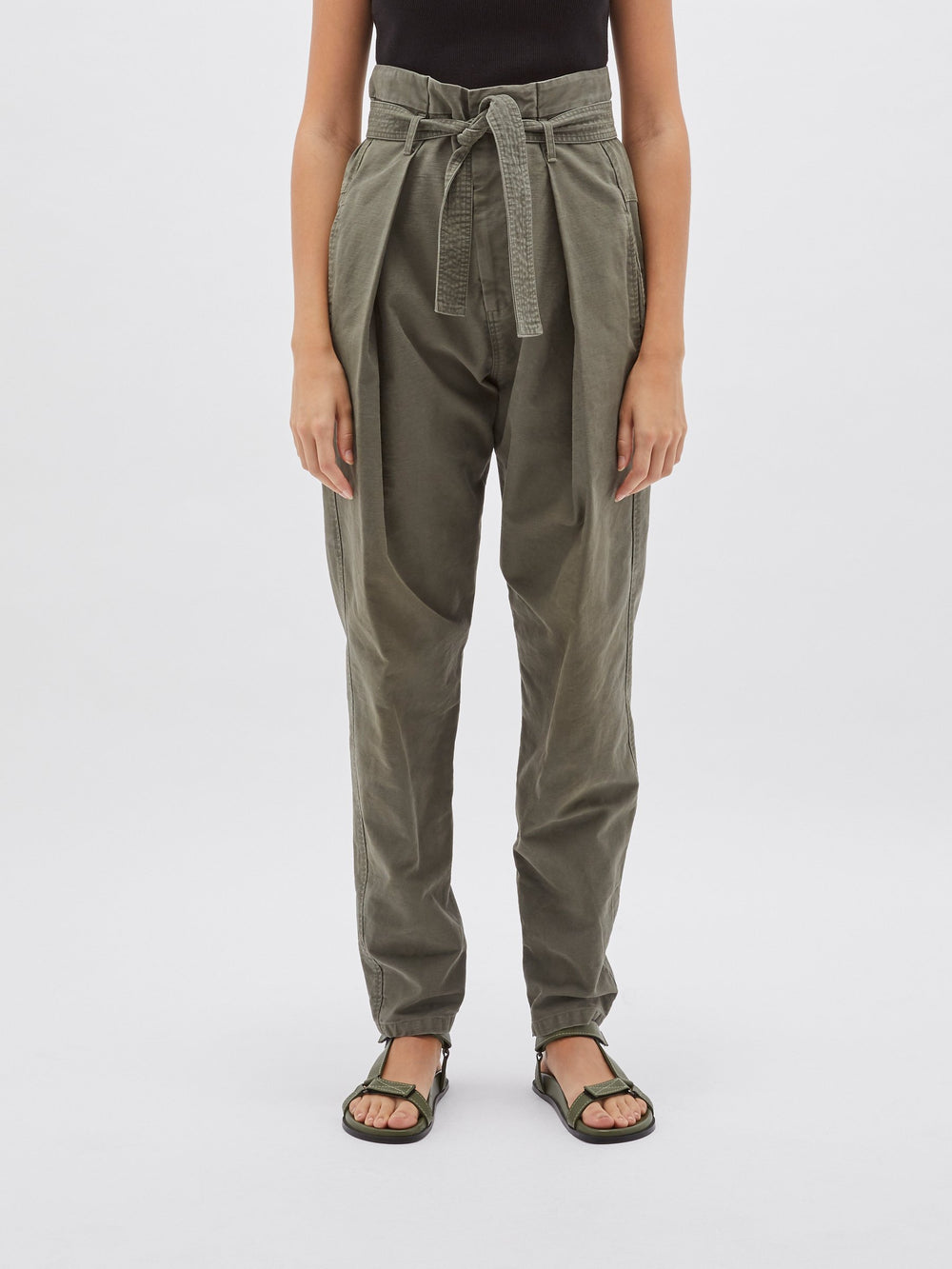 belted cotton pant