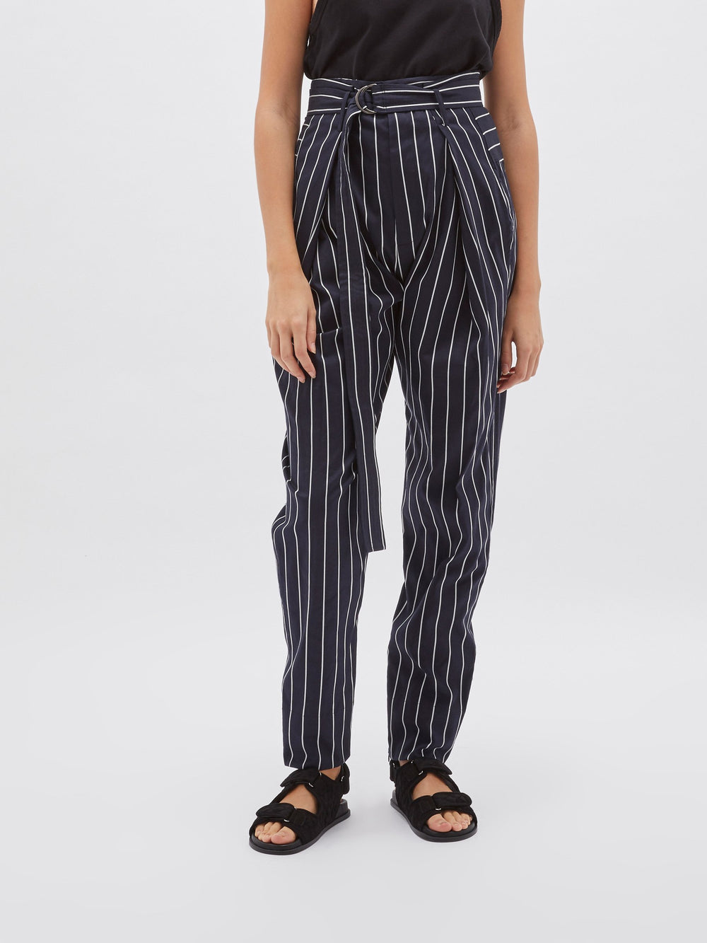 pinstripe belted tailored pant
