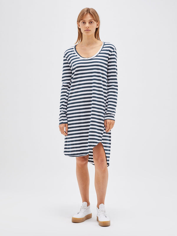 stripe long sleeve boxy t.shirt dress