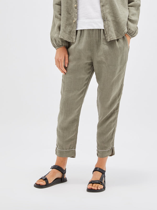 washed linen drawstring pant