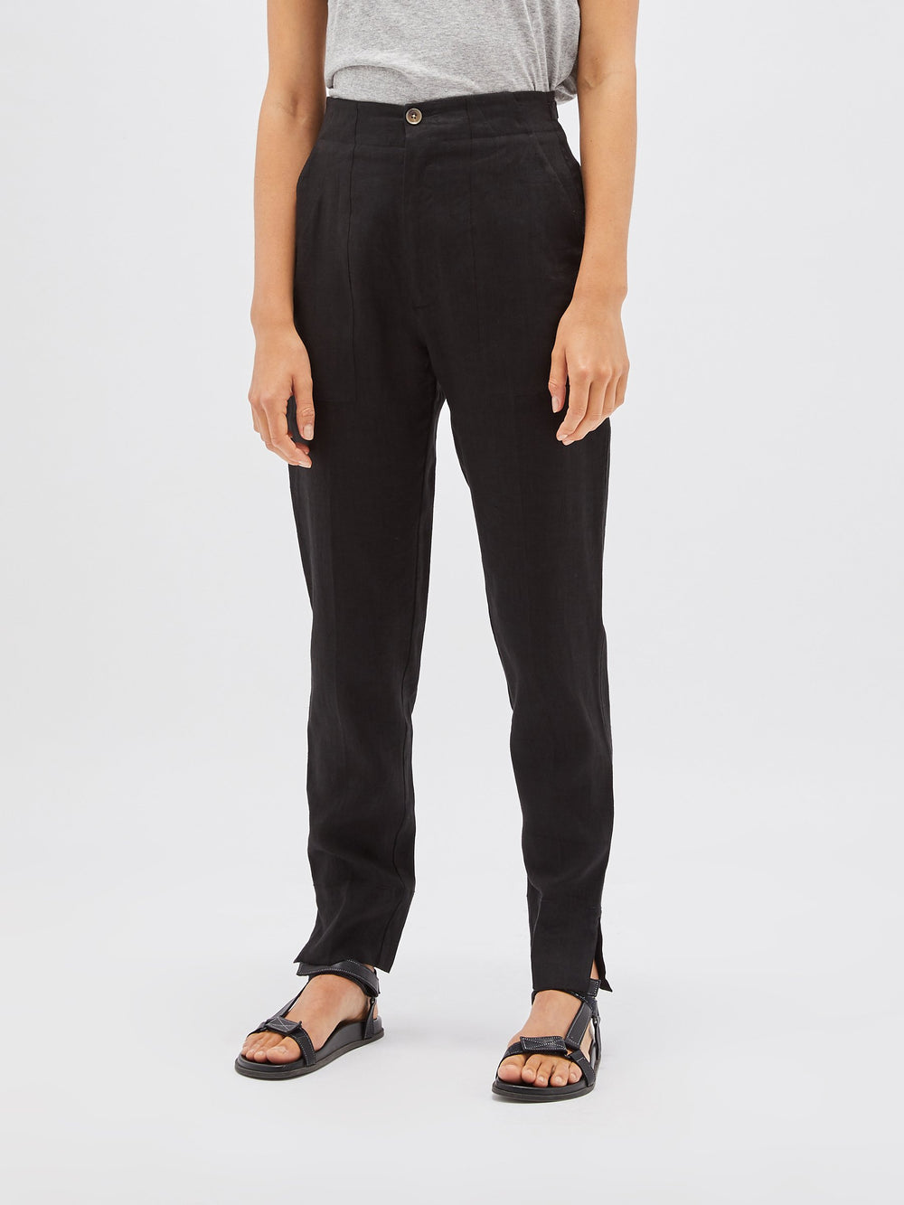 crepe tapered tailored pant