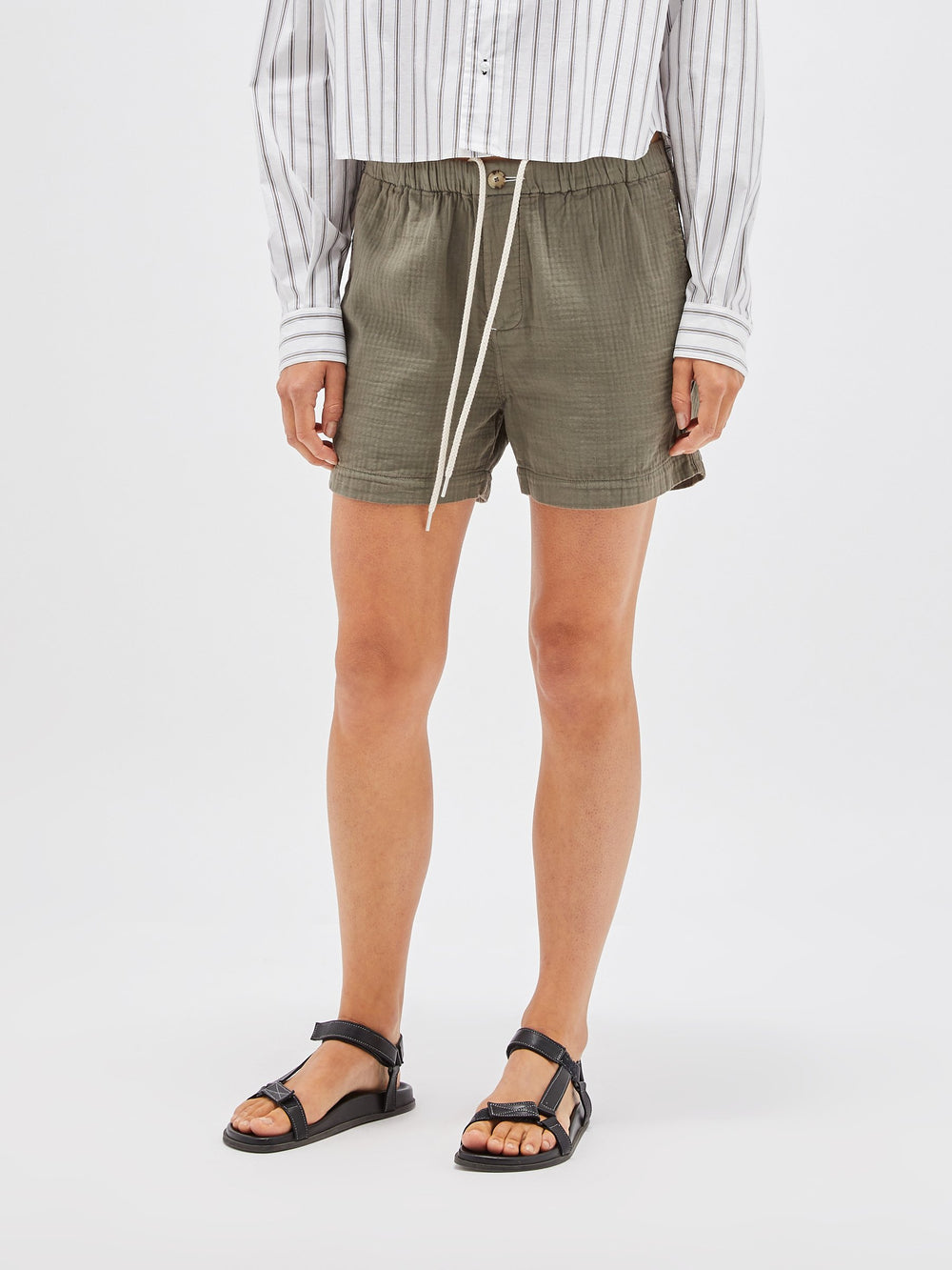 washed herringbone holiday short