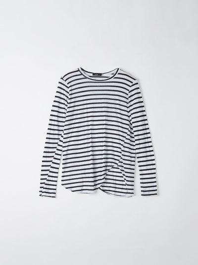 stripe heritage scoop hem long sleeve tshirt