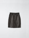 leather godet detail skirt