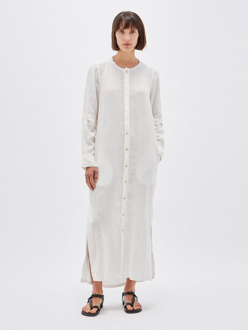 linen longerline shirt dress