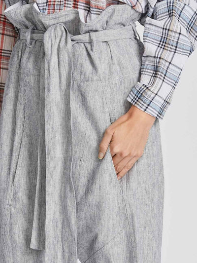 stripe cotton linen wrap pant
