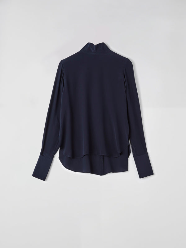 silk funnel neck shirt