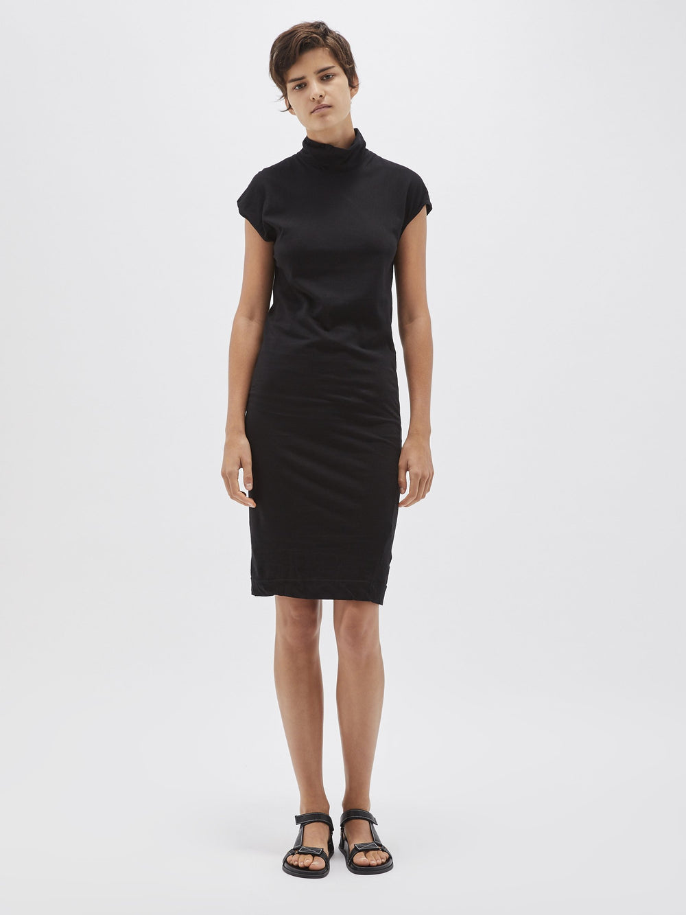 funnel neck jersey dress