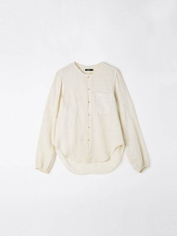 washed linen collarless shirt